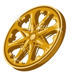 Gold sparkling wheel closeup on white background vector image vector image