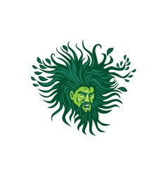 Green Man Head Hair Flowing Leaves Cartoon vector image vector image