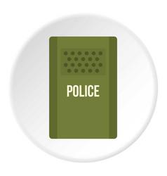 Green police riot shield icon circle vector