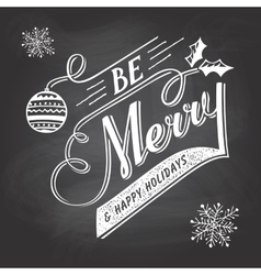 Hand-lettering Christmas greeting label on vector image
