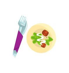 knife fork and plate with food cartoon vector image