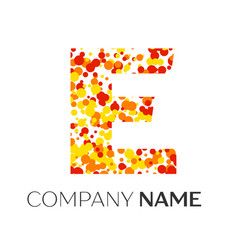 Letter e logo with orange yellow red particles vector