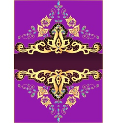 Lilac background with gold ornament vector