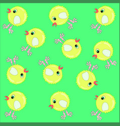 Pattern yellow chicken vector