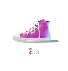 Polygonal of pink sneakers modern fashion icon vector