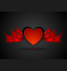 Red heart with wings abstract love background vector
