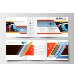 Set of business templates for tri-fold square vector image vector image