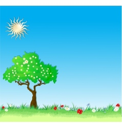 Summer Background with tree and flowers vector image