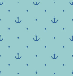 Tile sailor pattern with blue anchor and polka dot vector