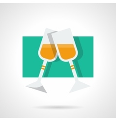 Two champagne glasses flat icon vector image vector image