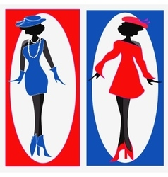 two ladies in blue and red dresses - vector image vector image