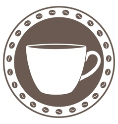 Vintage cup of coffee label vector