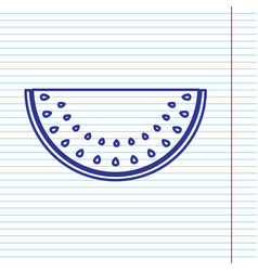 Watermelon sign navy line icon on vector