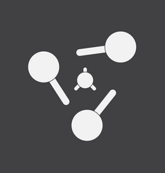 White icon on black background atoms elements vector
