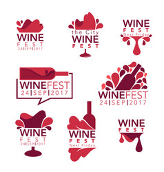 wine fest red wine bottles and glasses logo vector image