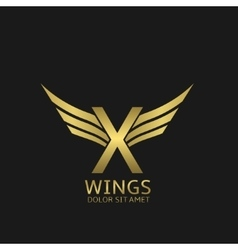 Wings x letter logo vector