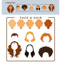 woman face constructor with samples of heads and vector image vector image