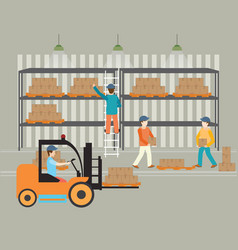 Workers of warehouse load boxes vector