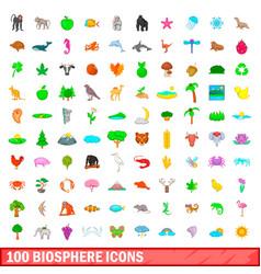 100 biosphere icons set cartoon style vector