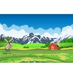 Cartoon farm green seeding field vector