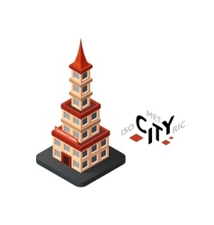 Isometric chinatown icon building city vector