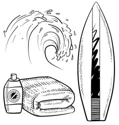 doodle beach surfing set vector image