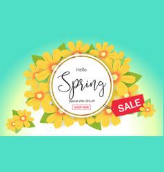 Hello spring season time sales season banner vector