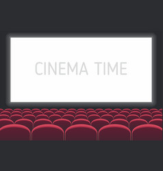 Cinema with white screen and red seats vector