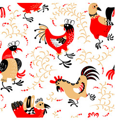 Seamless pattern with roosters cute decorative vector