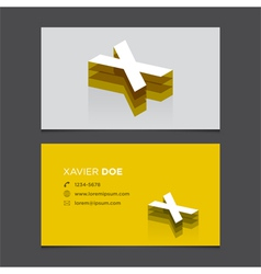 business card letter X vector image