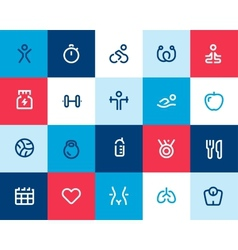 Fitness icons set flat vector