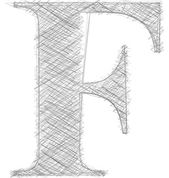 Freehand typography letter f vector
