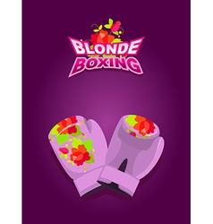 Blonde boxing logo for comic female boxing pink vector
