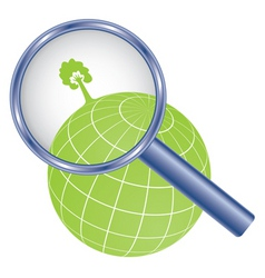tree with hand symbol on earth globe under magnifi vector image