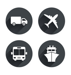 Transport icons truck airplane bus and ship vector