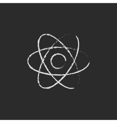 Atom icon drawn in chalk vector