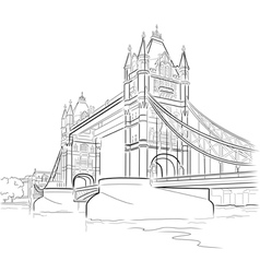 Drawing tower bridge in london uk vector