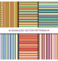 Set of colorful ethnic seamless patterns design vector