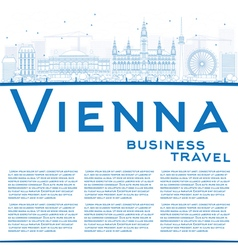 Outline vienna skyline with blue buildings vector