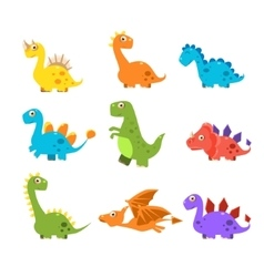 Small colourful dinosaur set collection vector