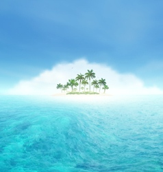 Ocean wave and tropical island with palms vector
