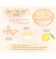Hand drawn of ginger detox salt scrub recipe vector