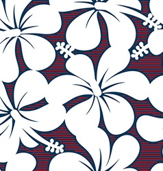 Red white and blue hibiscus lines seamless pattern vector