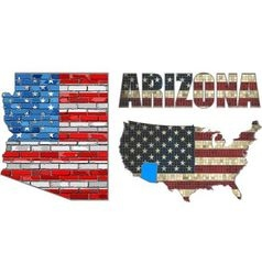 Usa state of arizona on a brick wall vector