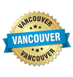 Vancouver round golden badge with blue ribbon vector