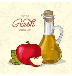 Extra fresh organic apple juice vector