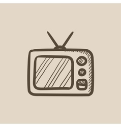 Retro television sketch icon vector