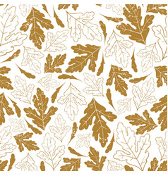 autumn seamless pattern with fall leaves isolated vector image vector image
