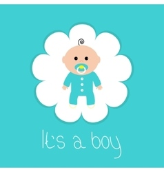 Baby shower card its a boy flower frame flat vector