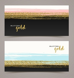 Banners with grunge glitter gold stripe vector image vector image